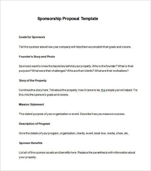 Sponsorship Proposal Template 11 Free Word Excel PDF Format – Blank Sponsorship Forms