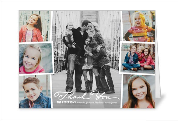 cherished moments photo collage thank you card