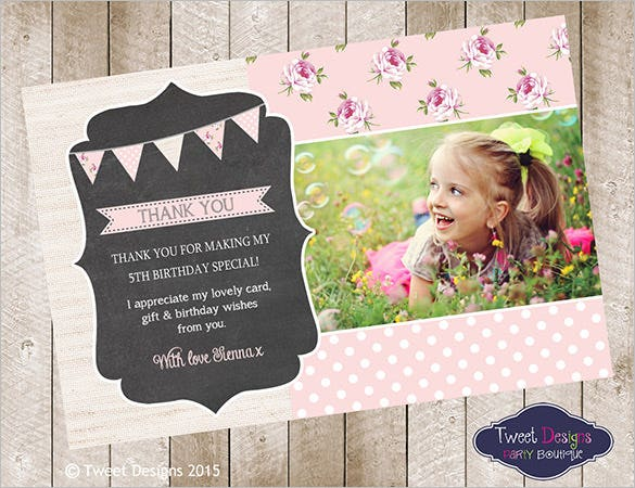 chic flags birthday thank you card