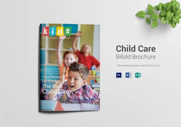 child care bi fold brochure design