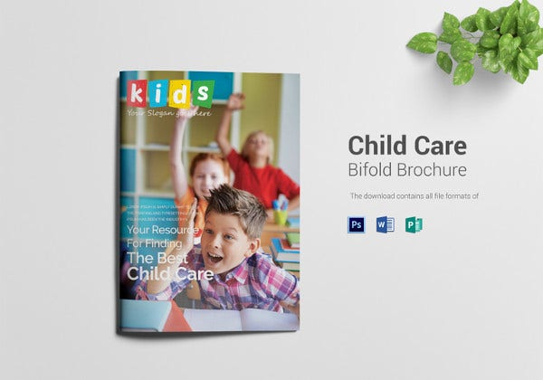 child care bi fold brochure template in psd