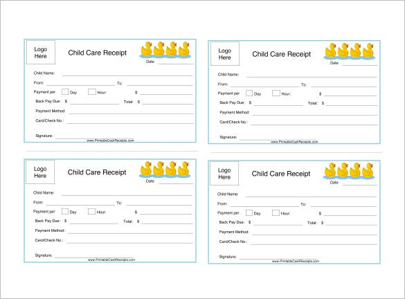 child care receipt template free