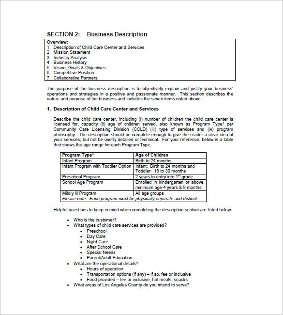 child day care business plan template