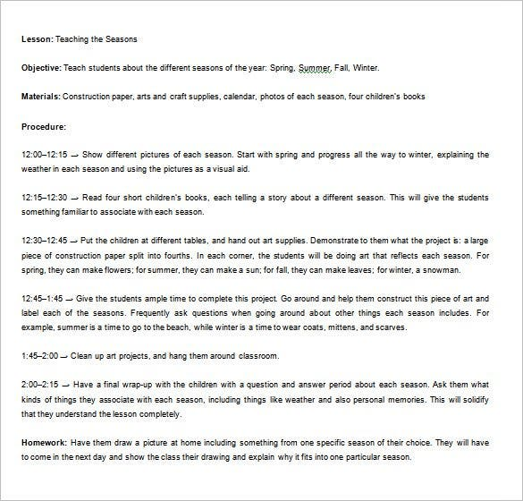 9 Lesson Plan Outline Templates Doc Pdf Free Premium