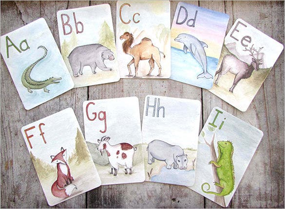 childrens educational animal alphabet flash card