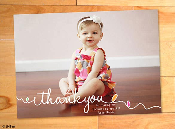 childrens thank you card with photoeditable