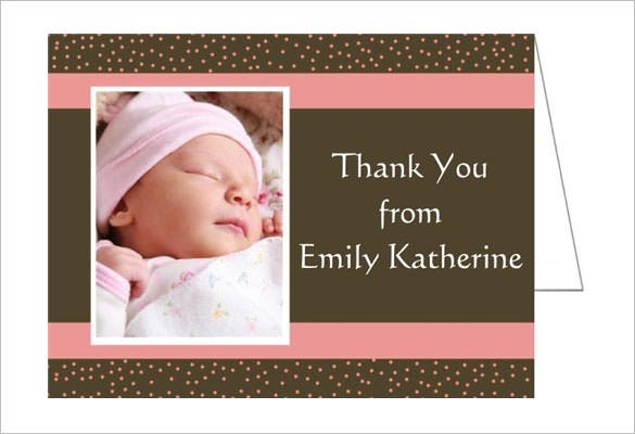chocolate and pink dots thank you card for baby