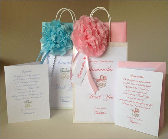 christening gift bag thank you card for father