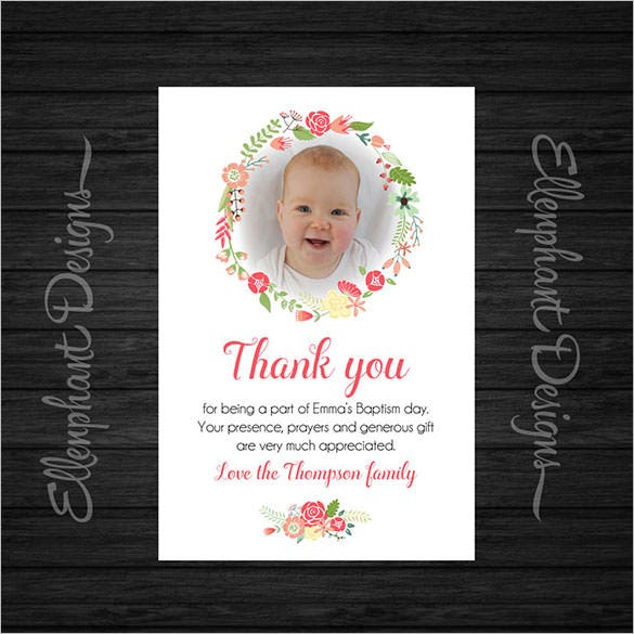 21 christening thank you cards free printable psd eps With baptism thank you card template