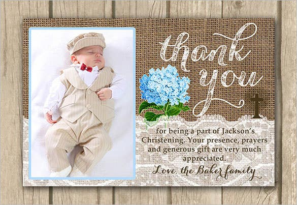 christening photo thank youcard