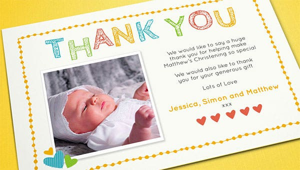 christening thank you card templates