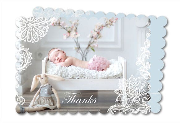 christening thank you card flower lace