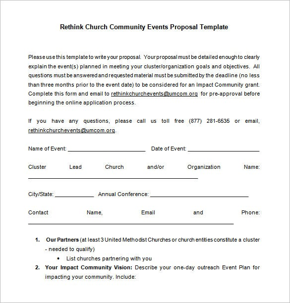 Superb Sample Church Event Proposal Free Download Intended For Proposal For Event