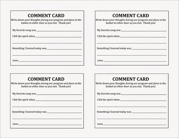 Guest Card Template Comment Cards Place Cards For Wedding