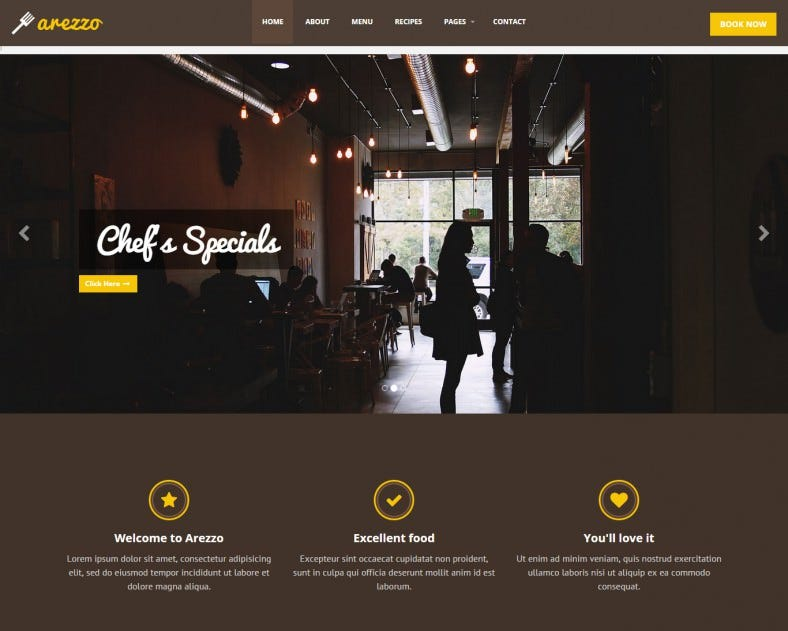 clean design cafe website template 788x631