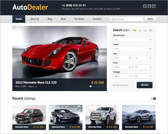 clean professional auto dealer html template