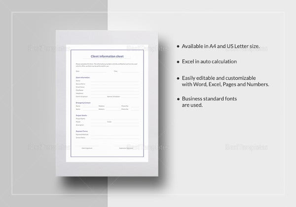 client-information-sheet-template