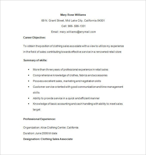 clothing retail associate resume format - Sample Resume Retail Sales