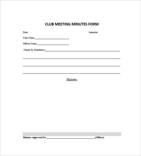 club minutes form template
