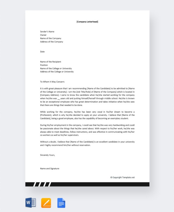 Letter Of Recommendation For Scholarship From Employer from images.template.net