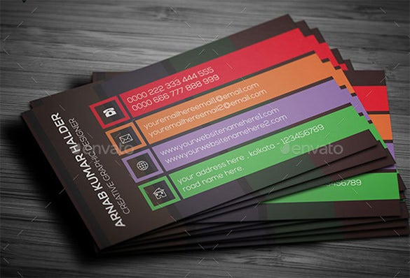 colourful contact business card psd template