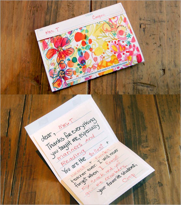 colourful teacher thanking you cardtemplate