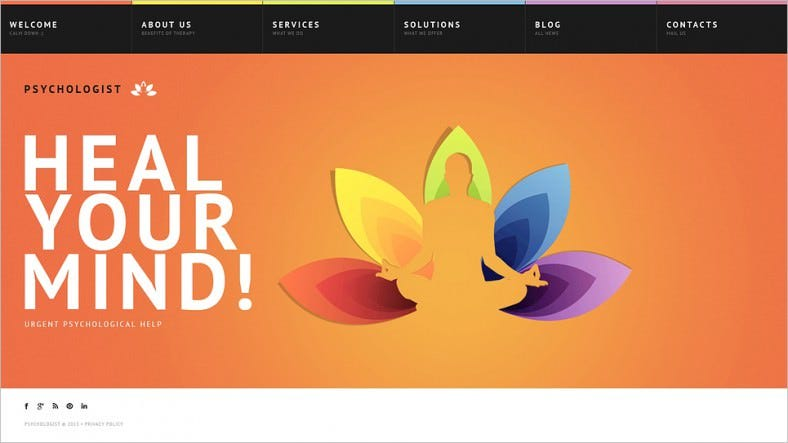Colourful Website Template for Psychologist