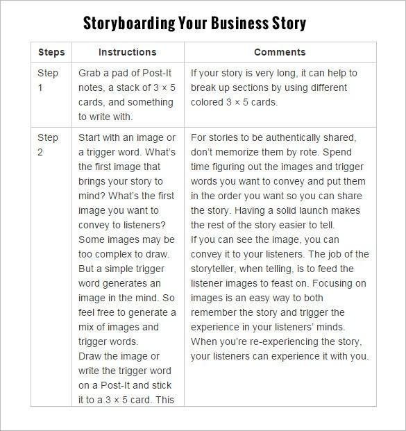 commercial businees storyboarding your story template example