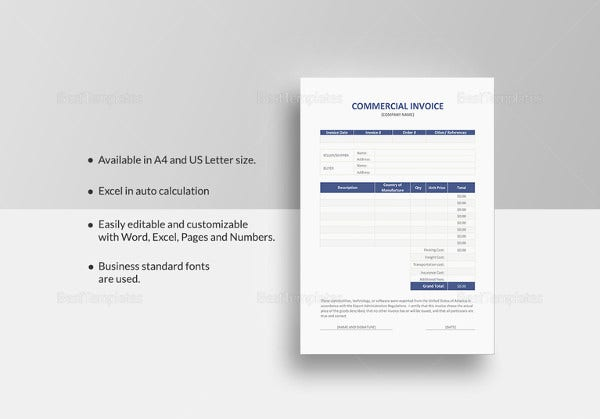 Commercial Invoice Excel Template  Invoice Excel