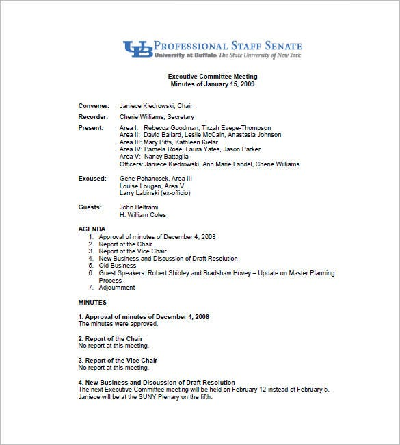 Committee Meeting Minutes Template  Free Sample Minutes Of Meeting Template