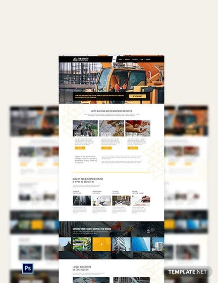 construction company psd landing page