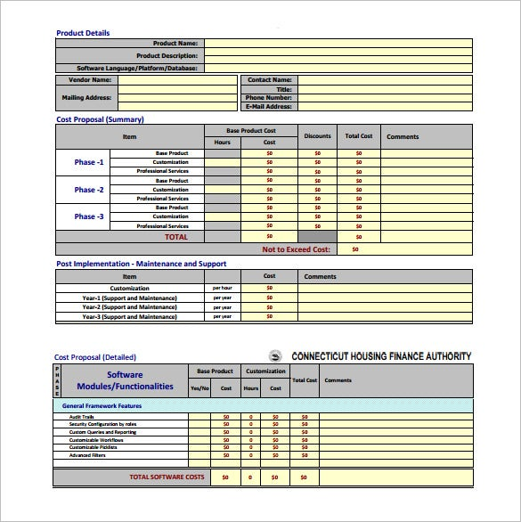 Cost Proposal Template 17 Free Sample Example Format Download
