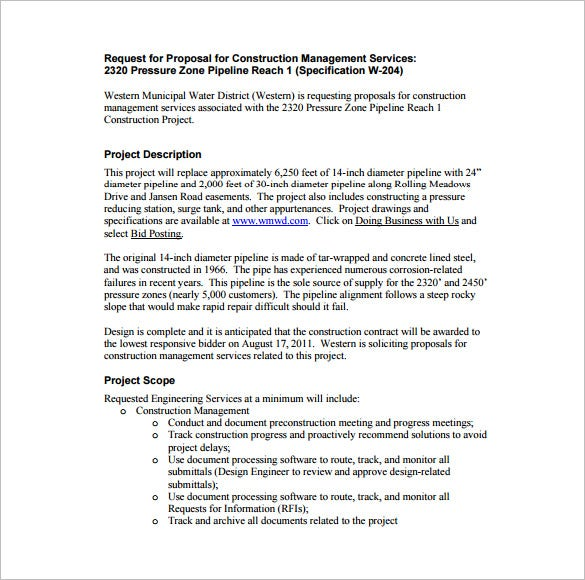 Construction Management Proposal Example Download  Construction Proposal Template