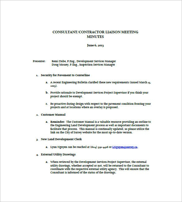 Construction Meeting Minutes Templates   Free Sample Example