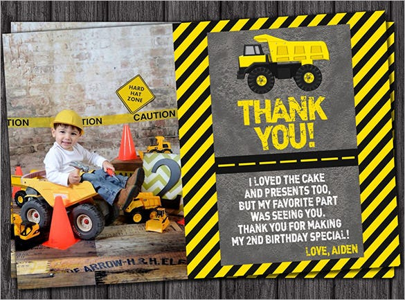 construction personalized thank you card