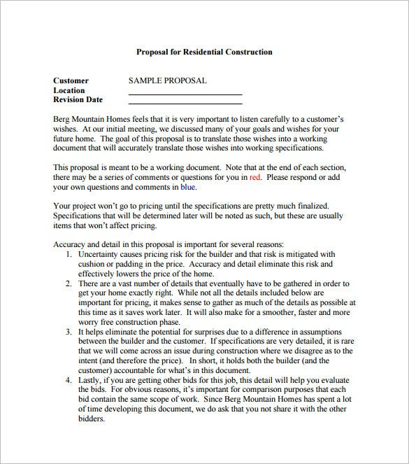 Construction Proposal Template 10 Free Word Excel PDF Format – Free Construction Bid Template