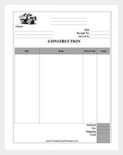 construction receipt format free
