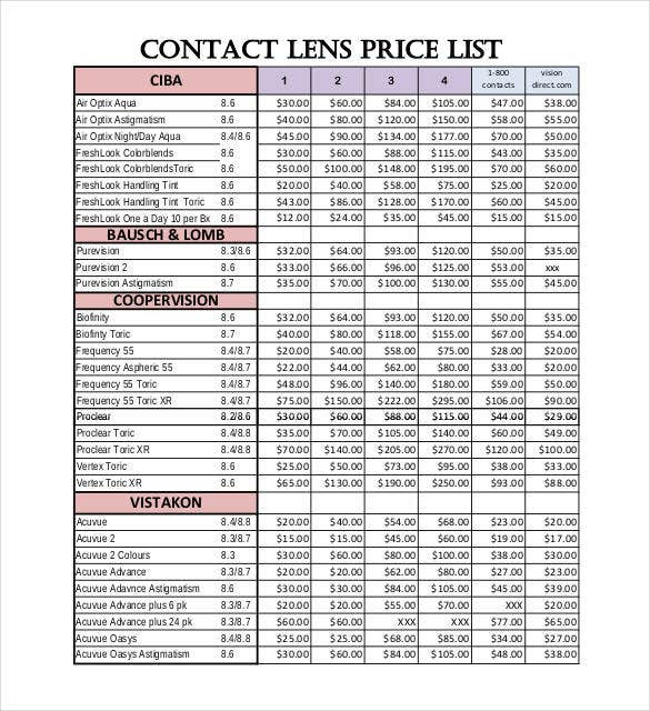 contact-lens-price-list-template