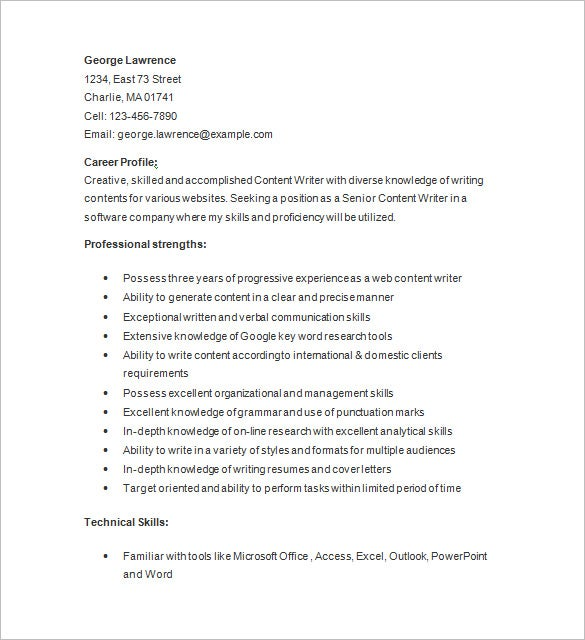 content writer resume sample - Writing Resume Samples