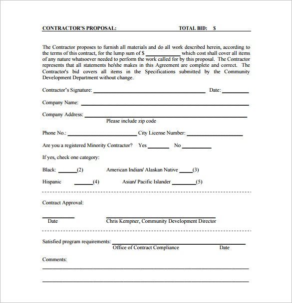 Bid Proposal Template 11 Free Sample Example Format Download – Proposal Form Template
