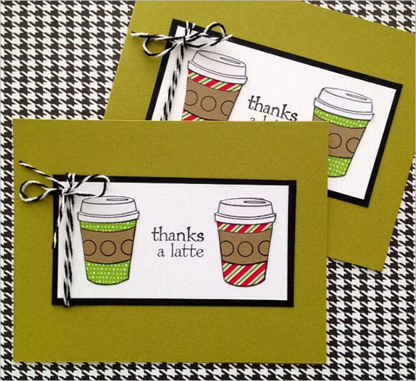 cool holiday thank you card with coffee cup latte