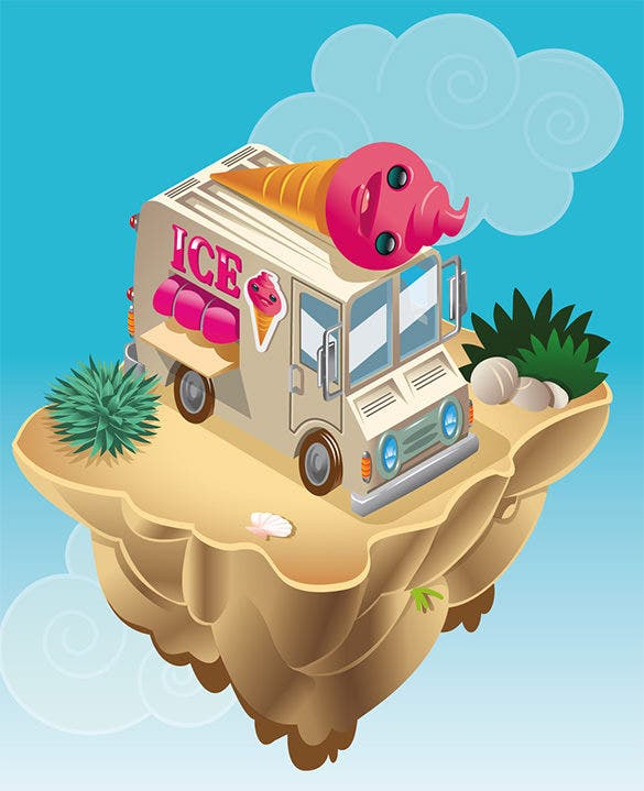 cool summer illustration design