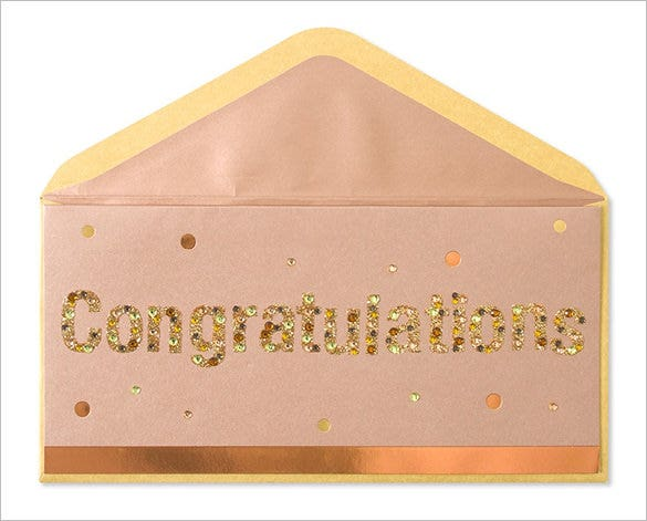 copper glitter gems congratulations card