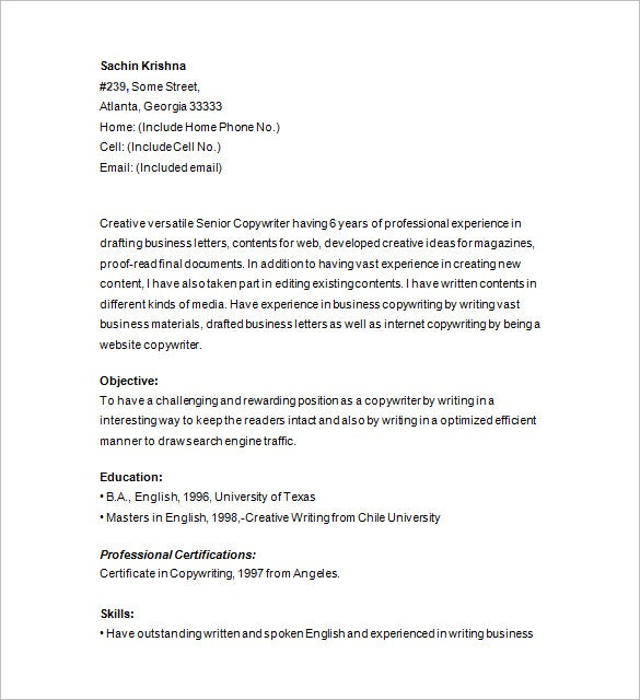 copy writer resume download