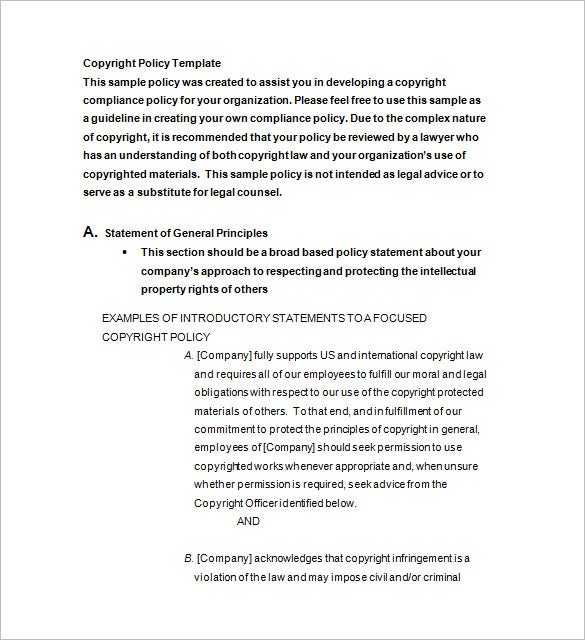 Copyright Notice Template 10 Free Word Excel PDF Format – Copyright Notice Template