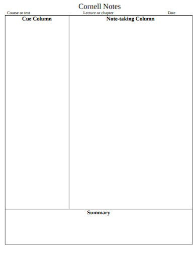 cornell note example template
