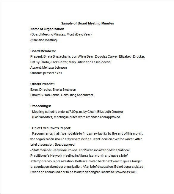 Corporate Board Minutes Template  Business Meeting Report Template