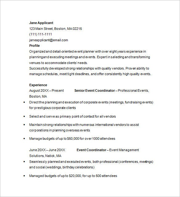 corporate event planner resume sample planning internship freelance