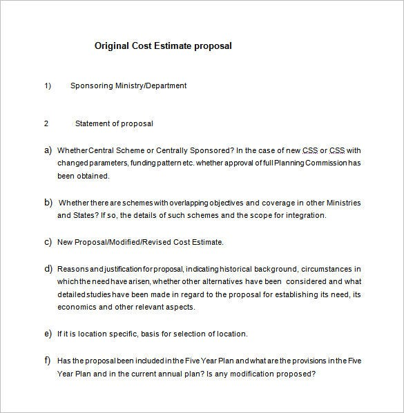 cost estimate proposal free word download