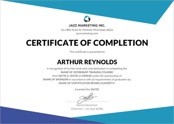 course training completion certificate template